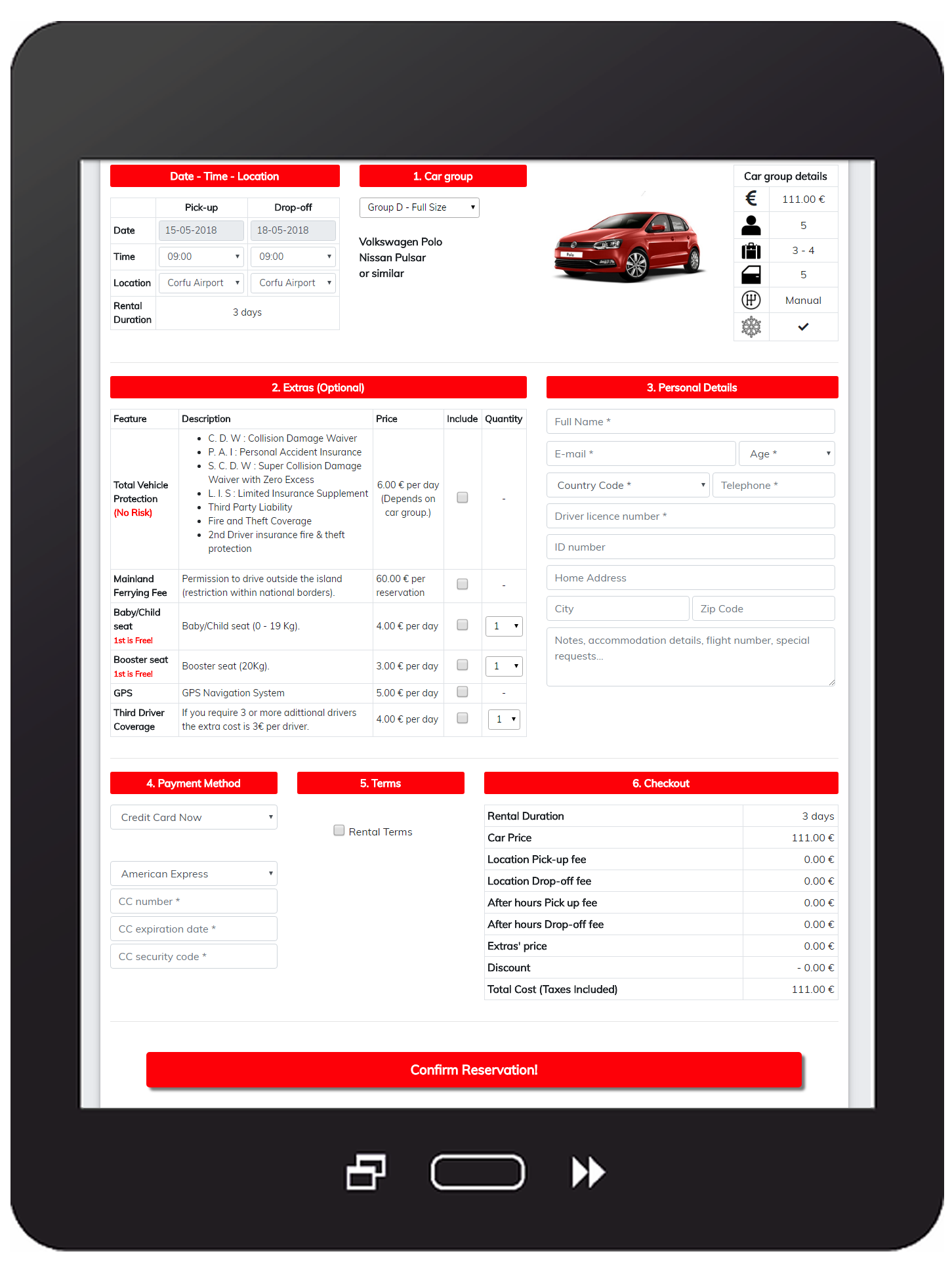 Rent A Car - Booking System screen.